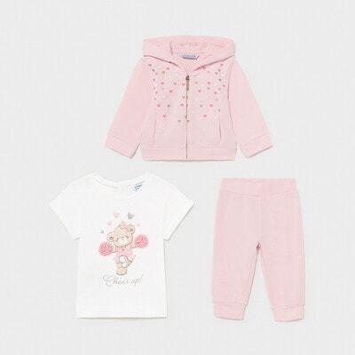 Комплект, Кофта + біла футболка + штани, Рожевий, Mayoral Іспанія, 21VL