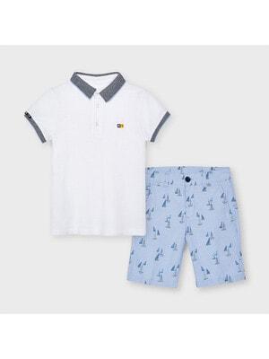Комплект, Футболка POLO біла + шорти, Блакитний, Mayoral Іспанія, 21VL