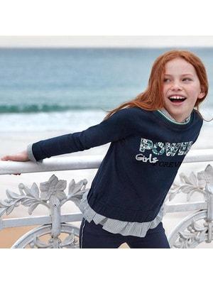 Пуловер, (сріблястим Girls), Темно-синій, Mayoral Іспанія, 20OZ