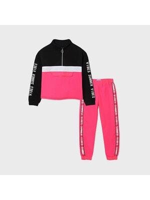 Комплект, Пуловер (чорні вставки) + штани, неоновий, Рожевий, Mayoral Іспанія, 21VL