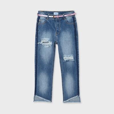 Штани, джинси + ліловий пояс, Синій, Mayoral Іспанія, 21VL