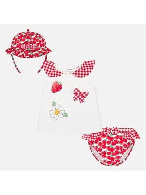 Комплект, Футболка белая + плавки + панамка, Красный, Mayoral Испания, 20VL