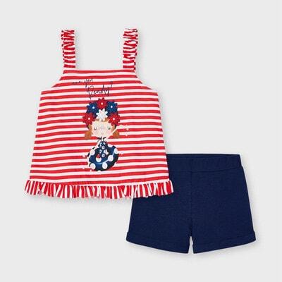 Комплект, Майка червона в білу смугу + шорти, Темно-синій, Mayoral Іспанія, 21VL