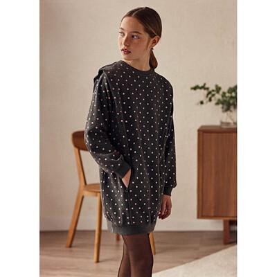 Сукня, довгий рукав, в рожевий горошок, Темно-сірий, Mayoral Іспанія, 22OZ