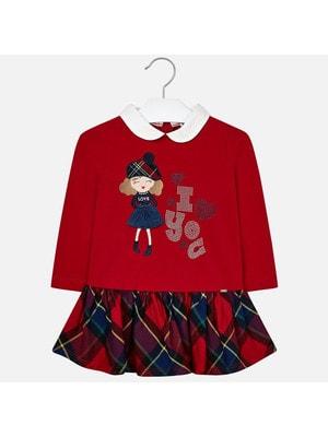 Сукня, довгий рукав (низ в клітину), Червоний, Mayoral Іспанія, 20OZ