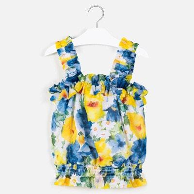 Блуза, в синіх та жовтих квітах, Білий, Mayoral Іспанія, 20VL