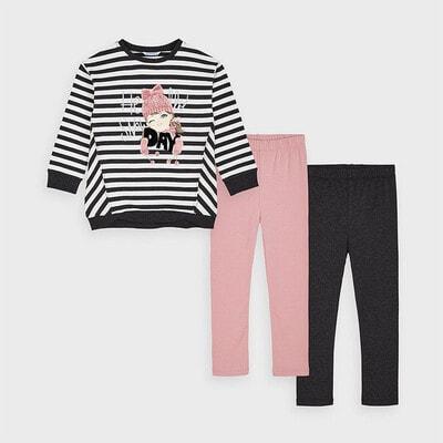 Комплект, Пуловер в білу смугу  + легінси 2 шт. (1 - рожеві), Темно-сірий, Mayoral Іспанія, 21OZ