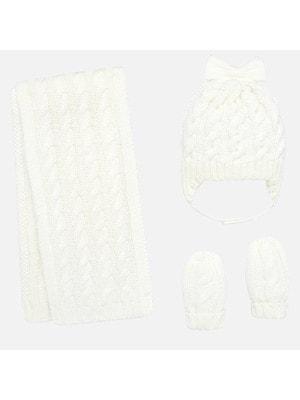 Головний убір Комплект, Шапка + шарф + рукавички (в'язаний), Кремовий, Mayoral Іспанія, 20OZ