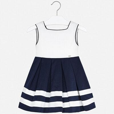 Сукня, Сарафан з білою вставкою, Темно-синій, Mayoral Іспанія, 20VL