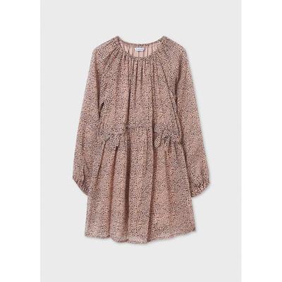 Сукня, довгий рукав, в коричневу плямочку, Рожевий, Mayoral Іспанія, 22OZ