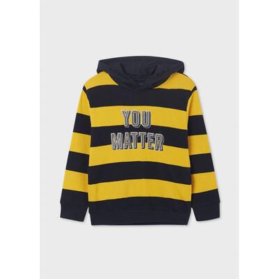 Пуловер, з капюшоном, в жовту смугу, утеплений, Темно-синій, Mayoral Іспанія, 22OZ