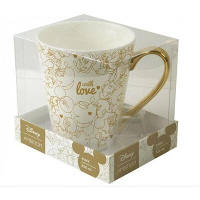 Чашка 320 мл MICKEY (золотий малюнок), Білий, Disney Польща