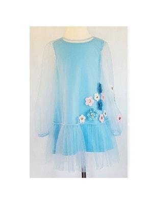 Сукня, довгий рукав (сині, білі,рожеві квіти з паєток), Блакитний, Daga Польща, 19VL