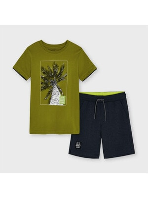 Комплект, Футболка зелена + шорти, Темно-сірий, Mayoral Іспанія, 21VL