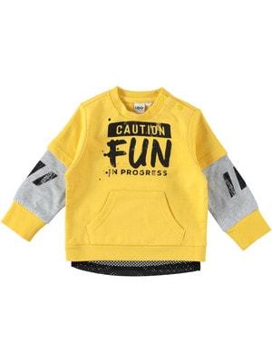 Пуловер, чорним FUN, Жовтий, iDO Італія, 19VL