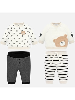 Комплект, 4 од. Джемпер  (1 в зірочках) + штани (1-сірі, 2- в чорну смугу), Кремовий, Mayoral Іспанія, 20OZ