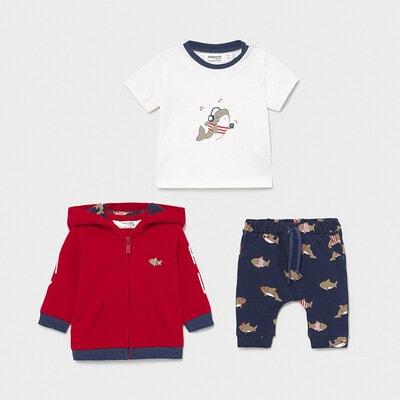 Комплект, Кофта червона + футболка біла + штани, Синій, Mayoral Іспанія, 21VL