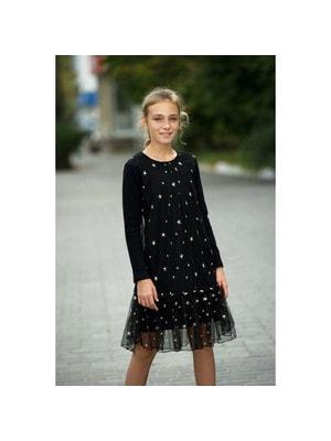 Сукня, у вишитих золотистих зірочках, трикотажний рукав, Чорний, ТМ Colabear, 20OZ