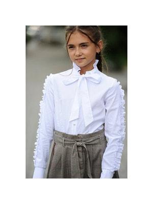 Шкільна форма, Блуза, довгий рукав з рюшем, Білий, REMIX Польща, 19Ошкола