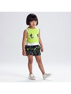 Комплект, Майка неонова + чорні в написах шорти, Зелений, Mayoral Іспанія, 21VL