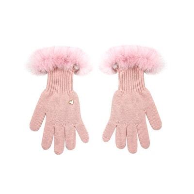 Рукавички, в'язані, натуральне хутро, Рожевий, GIAMO Польща, 21OZ