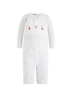 Комплект, Джемпер (звірята) + штани утеплені в клітину, Білий, TucTuc Іспанія, 20OZ