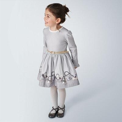 Сукня, довгий рукав + золотистий пояс (біла абстракція), Сірий, Mayoral Іспанія, 21OZ