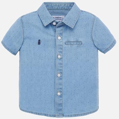 Сорочка, короткий рукав, в горошок, Синій, Mayoral Іспанія, 20VL