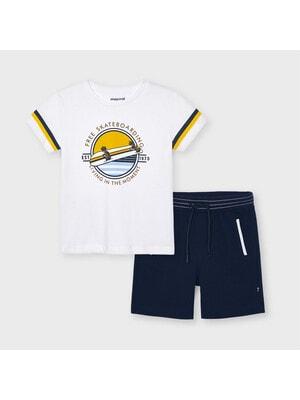 Комплект, Футболка + темно-сині шорти, Білий, Mayoral Іспанія, 21VL