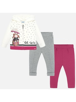 Комплект, Кофта + штани 2 шт. (1 - сірі), Рожевий, Mayoral Іспанія, 20OZ