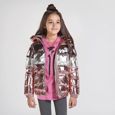 Куртка, з блиском, з капюшоном, Рожевий, Mayoral Іспанія, 21OZ