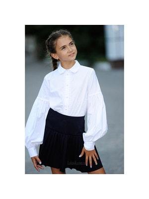 Шкільна форма, Блуза, довгий рукав з намистинками (мереживо), Білий, REMIX Польща, 19Ошкола