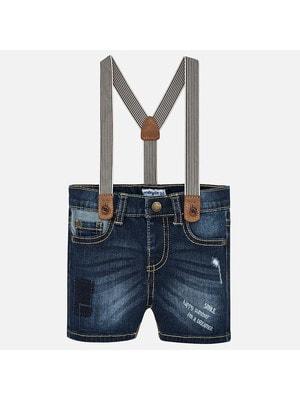 Шорты, джинсовые с подтяжками, Темно-синий, Mayoral Испания, 19VL