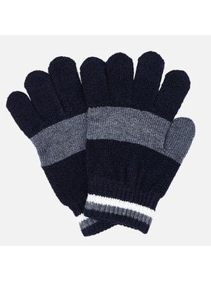 Рукавички, Перчатки (сіра вставка), Темно-синій, Mayoral Іспанія, 20OZ