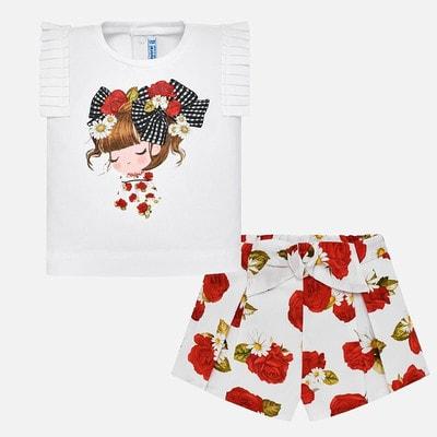Комплект, Футболка (дівчинка) + в червоних квітах шорти, Білий, Mayoral Іспанія, 19VL