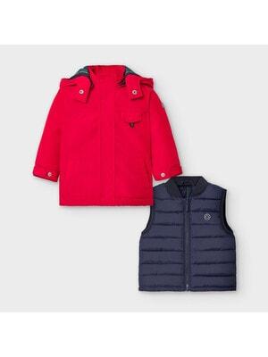 Куртка, з капюшоном, в комплекті жилет, відстібається, Червоний, Mayoral Іспанія, 21OZ