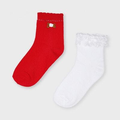 Шкарпетки, 2 шт. Білий, Червоний, Mayoral Іспанія, 21VL